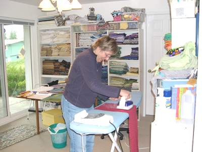 Quilter at Patchwork - Joan Ironing