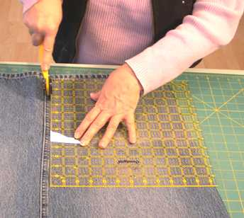 cutting the jean block fabric