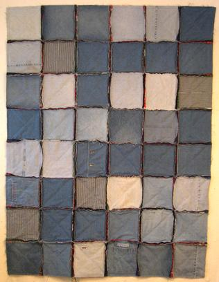 sewn denim quilt