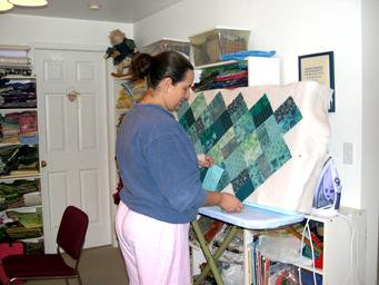 quilt blocks on a portable design wall