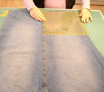 cutting the denim block fabric