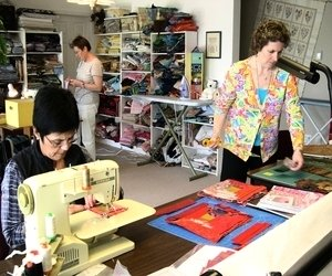 quilting hard at work